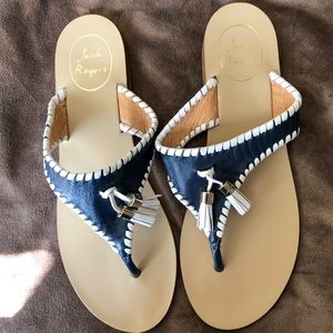 Jack Rogers Alana Tassel Sandals Navy and White